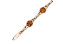 Серебряный браслет с позолотой с янтарем
