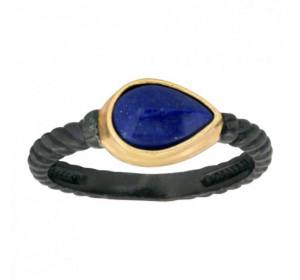 Серебряное кольцо с позолотой с лазуритом