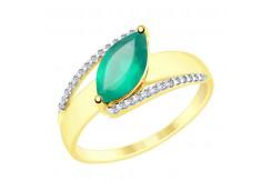 Кольцо из желтого золота с агатом зеленым