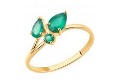 Золотое кольцо с агатом зеленым