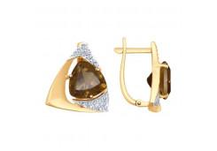Золотые cерьги классические с раух-топазом