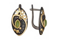 Серебряные cерьги классические с позолотой с нефритом