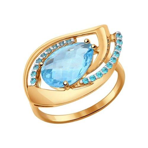 Кольцо из красного золота 585 пробы с топазом