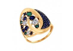Женские золотые кольца с цветными фианитами 107546