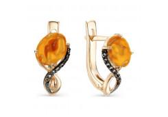 Золотые cерьги классические с янтарем