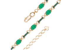 Золотой браслет с агатом зеленым