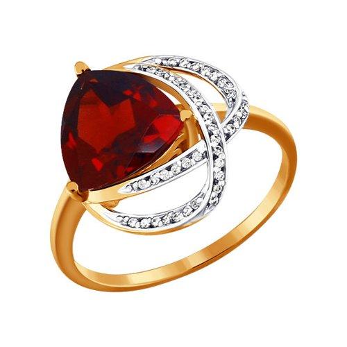 Кольцо из красного золота 585 пробы с гранатом