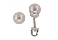 Серебряные cерьги пусеты (гвоздики) с жемчугом