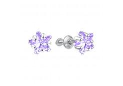 Серебряные cерьги пусеты (гвоздики) с фианитом