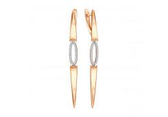 Серебряные cерьги висячие с позолотой с фианитом