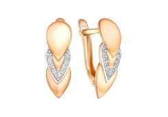 Серебряные cерьги классические с позолотой с фианитом