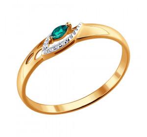 Кольцо из красного золота 585 пробы с изумрудом