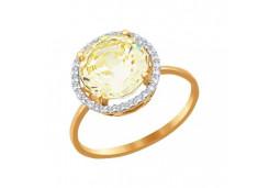 Женские золотые кольца с цветными фианитами 38714