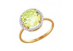 Женские золотые кольца с цветными фианитами 38713