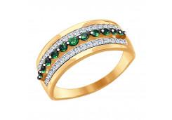 Женские золотые кольца с цветными фианитами 95735