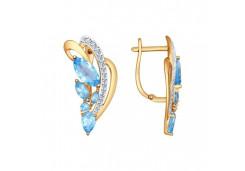 Золотые cерьги классические с топазом