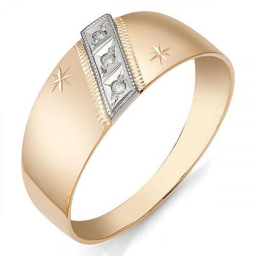 Золотое обручальное кольцо с фианитом