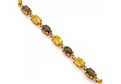 Браслет из красного золота 585 пробы с полудрагоценными камнями