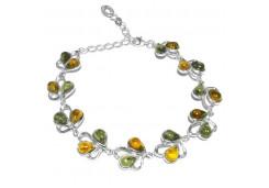 Браслеты из серебра, вставка янтарь 110900
