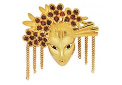 Брошь из красного золота 585 пробы с фианитом