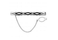 Зажим для галстука из серебра с фианитом