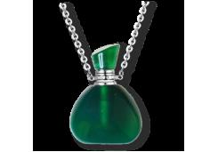 Колье из серебра 925 пробы с агатом зеленым