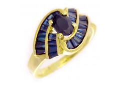 Кольцо из желтого золота 585 пробы с сапфиром