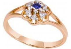 Кольцо из красного золота 585 пробы с сапфиром