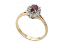 Кольцо из красного золота 585 пробы с рубином