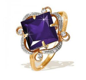 Кольцо из красного золота 585 пробы с александритом