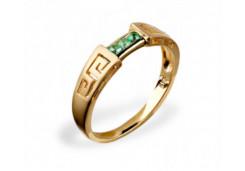Кольцо из желтого золота с изумрудом