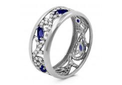 Серебряные кольца с сапфирами 104040