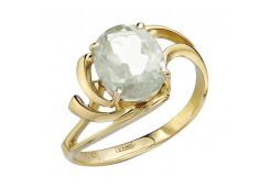Кольцо из желтого золота с горным хрусталем