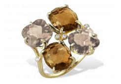 Кольцо из желтого золота 585 пробы с полудрагоценными камнями
