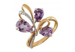 Золотые кольца с аметистом 131726