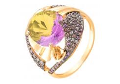 Золотые кольца с аметрином 113846