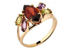 Кольцо из красного золота 585 пробы с полудрагоценными камнями