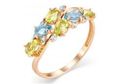 Золотое кольцо с полудрагоценными камнями