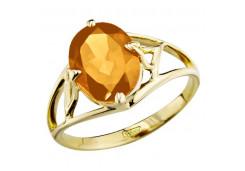 Кольцо из желтого золота с цитрином