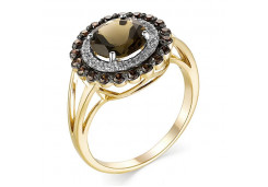 Кольцо из желтого золота с раух-топазом