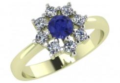 Кольцо из желтого золота с танзанитом
