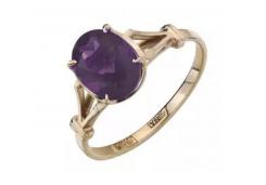 Кольцо из красного золота 585 пробы с аметистом