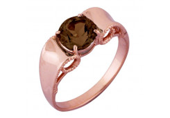 Кольцо из красного золота 585 пробы с раух-топазом