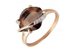 Золотое кольцо с раух-топазом