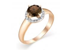 Золотые кольца с раух-топазом 131664
