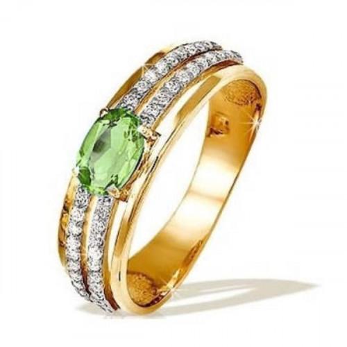 Кольцо из красного золота 585 пробы с хризолитом