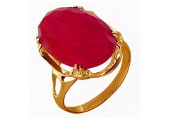 Кольцо из красного золота 585 пробы с корундом