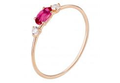 Кольцо из красного золота 585 пробы с родолитом