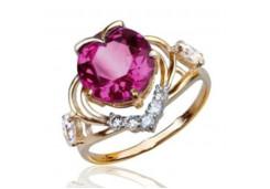 Золотое кольцо с родолитом