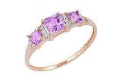Золотые кольца с аметистом 130012